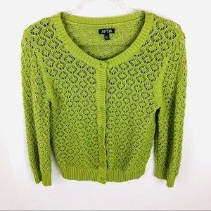 Apt 9 Green Sweater Cardigan Lightweight Cropped